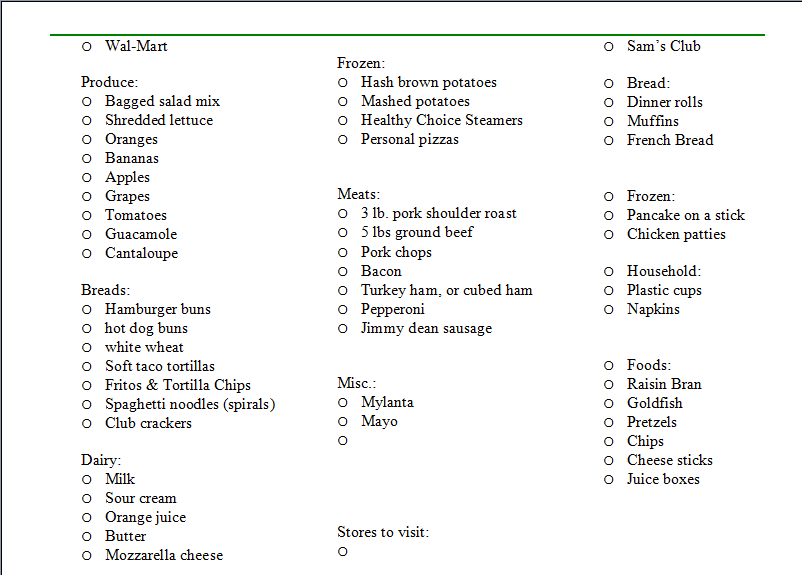 Doc600664 Grocery List Example Sample Grocery List Template 9 – Example Grocery List